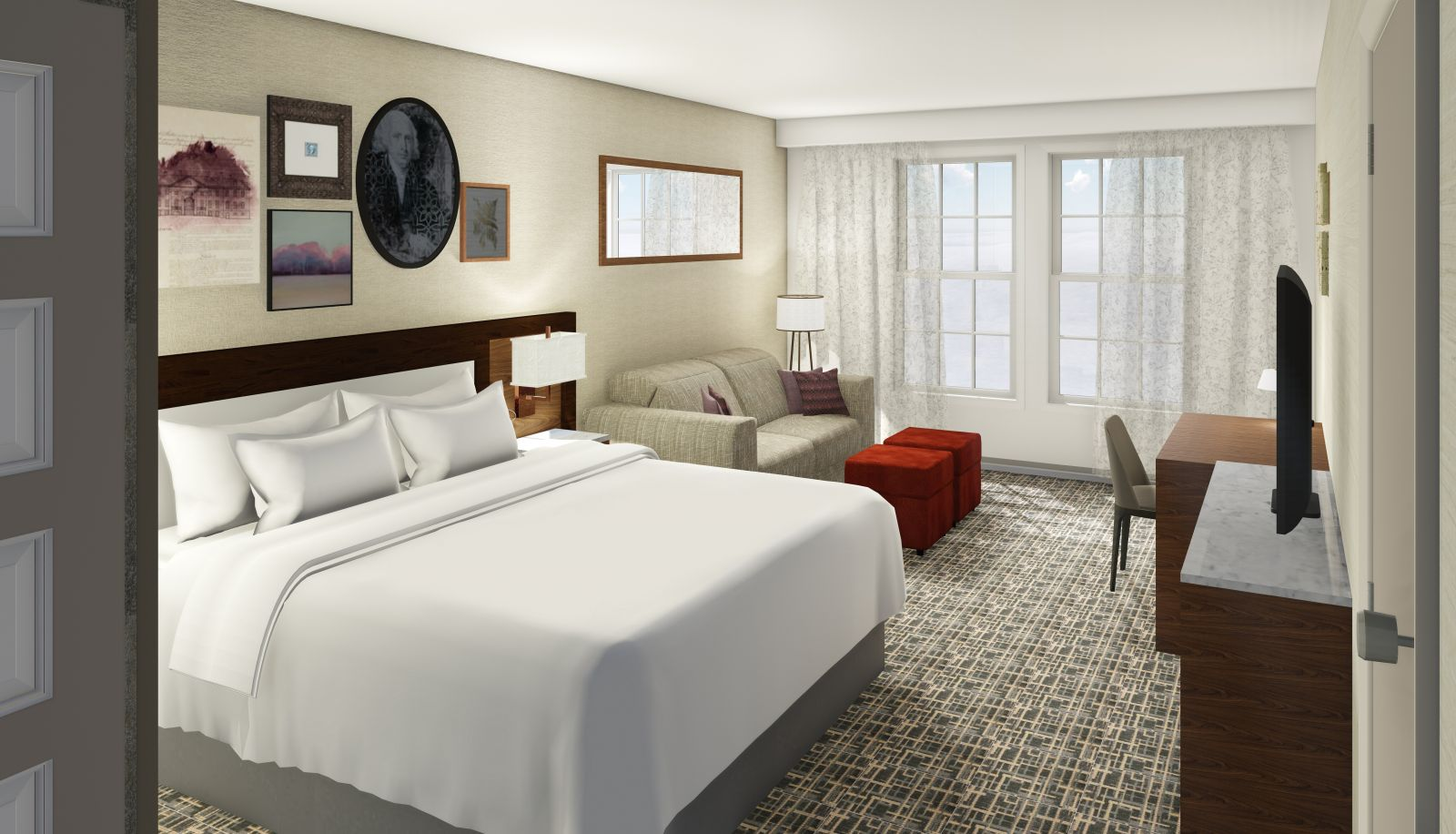 Hotel Madison Hotel Room - King Size Bed With White Sheets Located in Harrisonburg Virginia