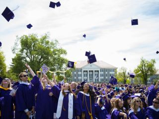 James Madison University Spring Graduation Near Hotel Madison - Clear sunny day in Harrisonburg Virginia